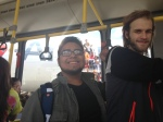Max and Luke on the Airport Shuttle